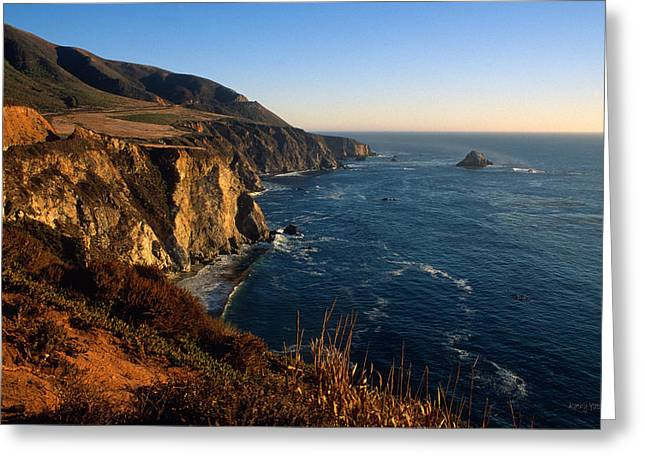 Big Sur California Greeting Cards - Golden Glow on Big Sur Greeting Card by Kathy Yates