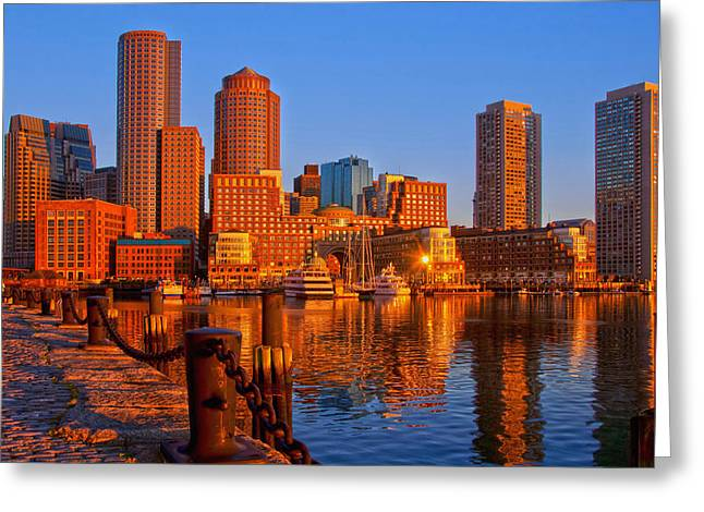 Boston Harbor Greeting Cards - Golden Glow over Boston Harbor Greeting Card by Joann Vitali