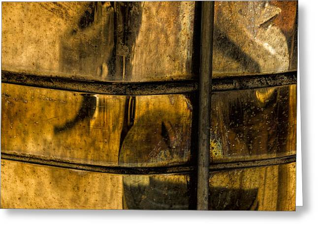 Abstract Digital Art Digital Art Greeting Cards - Golden Glow Reflections on a Copper Container Greeting Card by Randall Nyhof