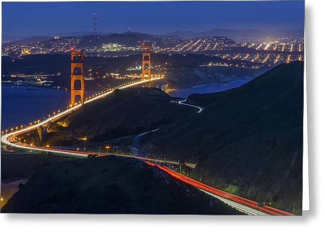 City Lights Greeting Cards - Golden Glow Greeting Card by Rick Berk