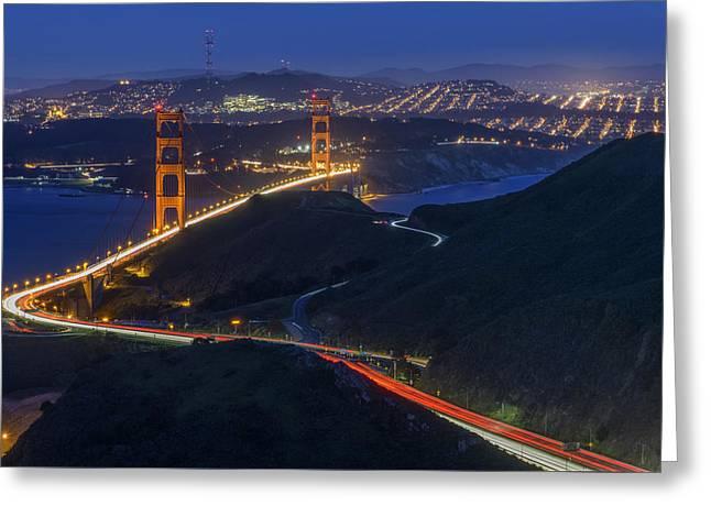 Golden Gate Greeting Cards - Golden Glow Greeting Card by Rick Berk