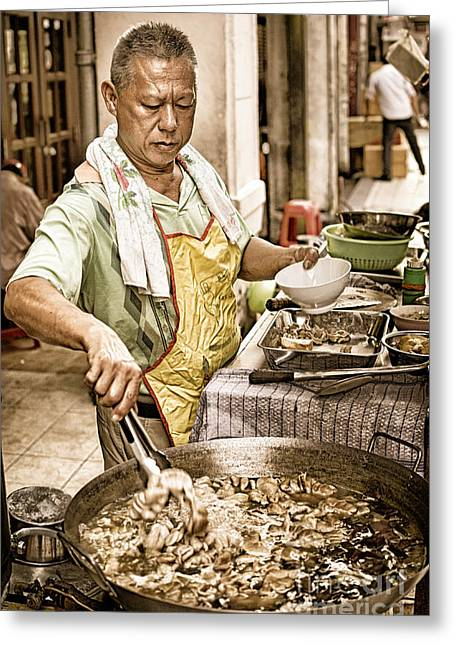 Stir-fry Greeting Cards - Golden Glow - South East Asian Street Vendor Cooking Food at his Stall Greeting Card by David Hill