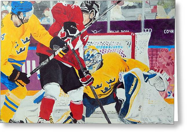 Hockey Paintings Greeting Cards - Golden Goal in Sochi Greeting Card by Betty-Anne McDonald