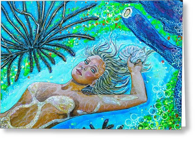Debbie Chamberlin Greeting Cards - Golden Goddess close up Greeting Card by Debbie Chamberlin