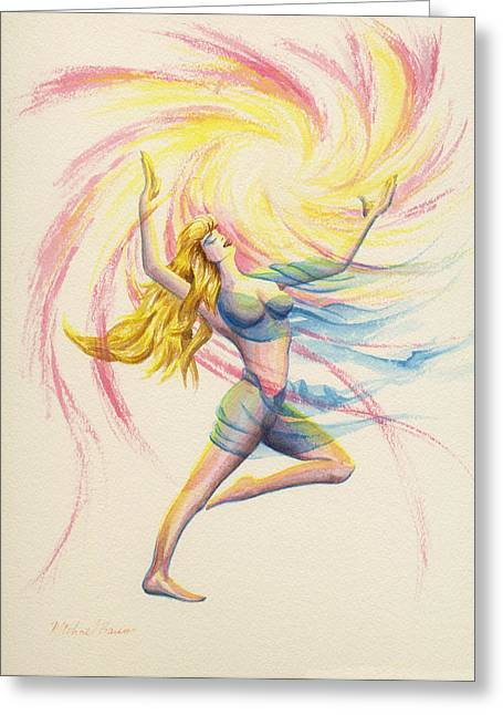 Flowing Blonde Hair Greeting Cards - Golden Goddess  Greeting Card by Michael Baum