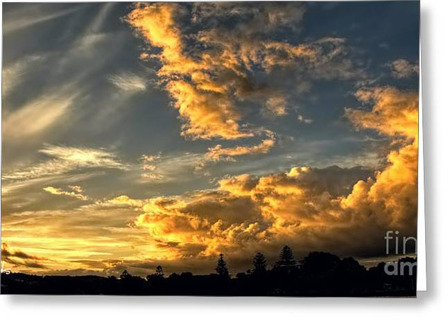 Ocean Vista Greeting Cards - Golden Gods - Sunset Greeting Card by Geoff Childs