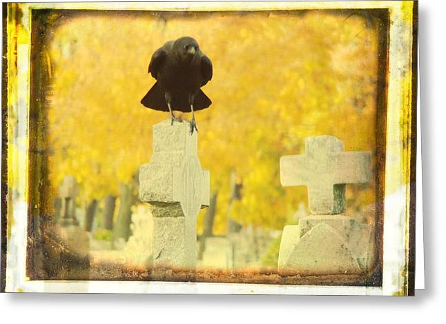 Gothicrow Greeting Cards - Golden Gothic Greeting Card by Gothicolors Donna Snyder