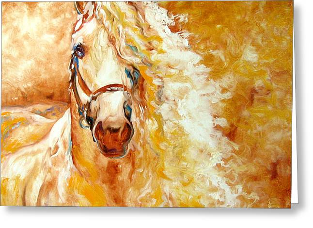 Equine Greeting Cards - Golden Grace Equine Abstract Greeting Card by Marcia Baldwin