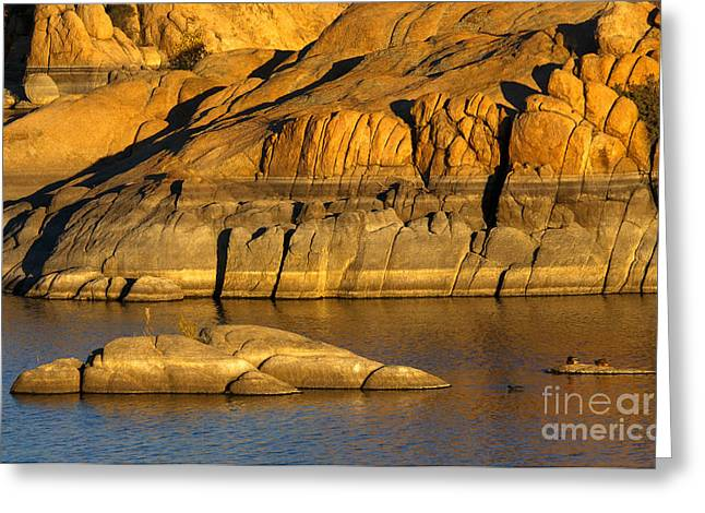 Golden Granite Glow Greeting Card by Mike  Dawson
