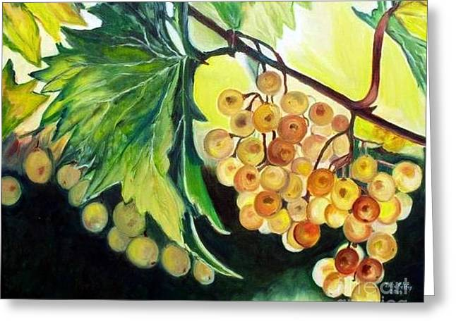 Grapevine Leaf Paintings Greeting Cards - Golden Grapes Greeting Card by Julie Brugh Riffey
