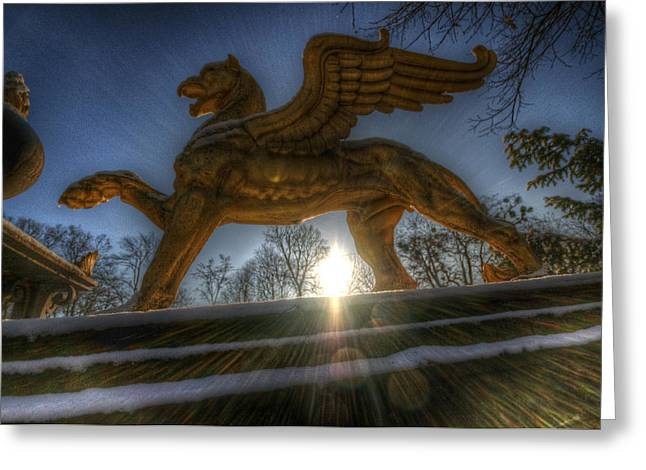 Golden Griffin Greeting Card by Nathan Wright