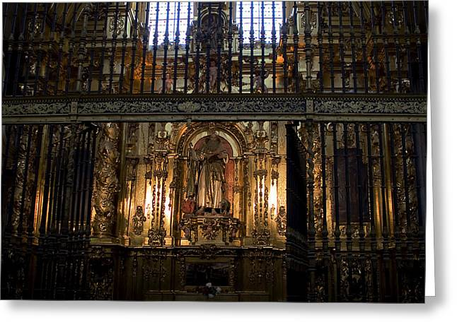 True Cross Greeting Cards - Golden Grills Of Segovia Cathedral Greeting Card by Lorraine Devon Wilke