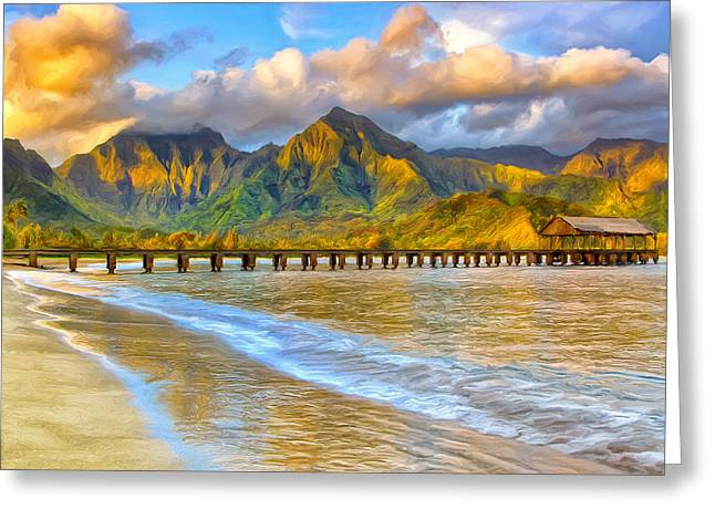 Golden Hanalei Morning Greeting Card by Dominic Piperata