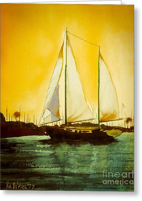 Yellow Sailboats Mixed Media Greeting Cards - Golden Harbor  Greeting Card by Kip DeVore