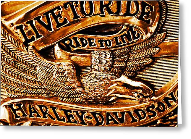 Manipulated Digital Photograph Greeting Cards - Golden Harley Davidson Logo Greeting Card by Chris Berry
