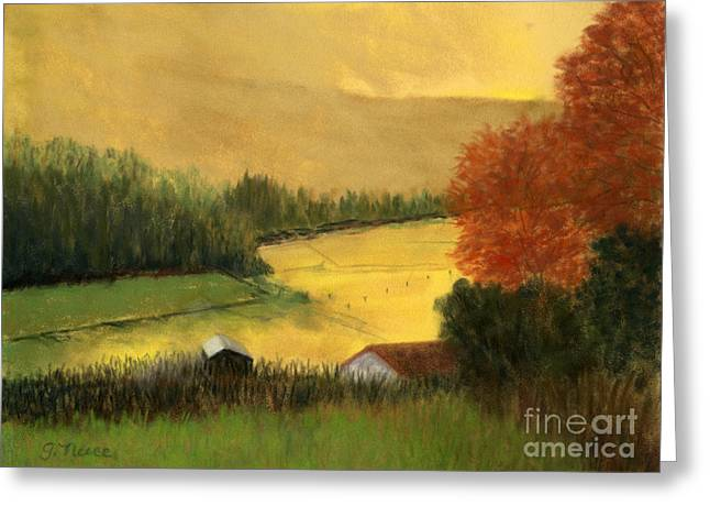 Field. Cloud Pastels Greeting Cards - Golden Haze Greeting Card by Ginny Neece