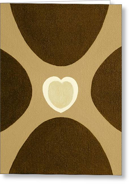 Maza Greeting Cards - Golden Heart 3 Greeting Card by Lorna Maza
