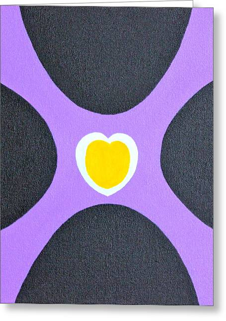 Maza Greeting Cards - Golden Heart Greeting Card by Lorna Maza