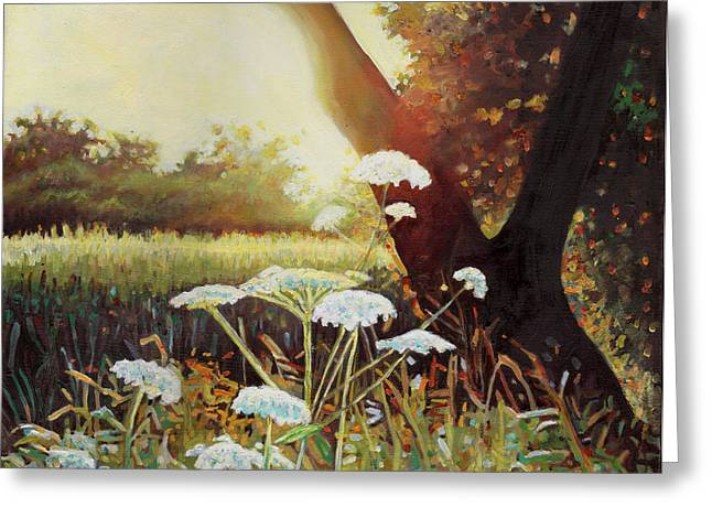 Feminine Art Greeting Cards - Golden Hedgerow Greeting Card by Helen White
