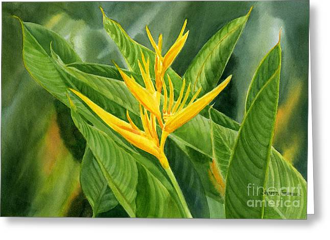 Tropical Birds Of Hawaii Greeting Cards - Golden Heliconia Paradise Greeting Card by Sharon Freeman