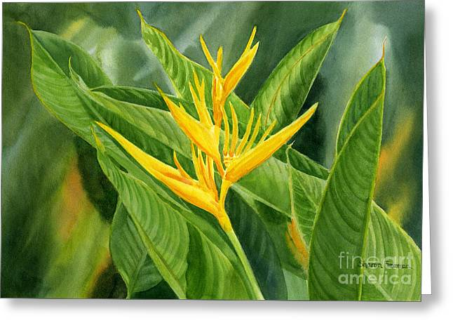 Tropical Gardens Greeting Cards - Yellow Heliconia Paradise with Leaves Greeting Card by Sharon Freeman