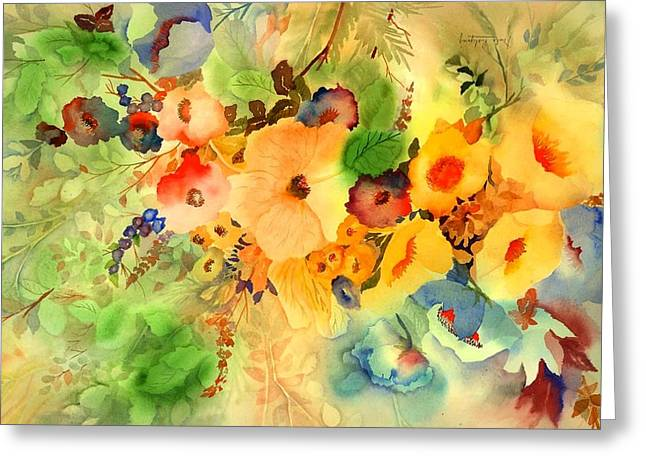 Green And Blue Greeting Cards - Golden Hibiscus Greeting Card by Neela Pushparaj