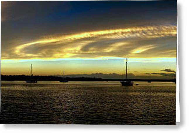 Ocean Art Photos Greeting Cards - Golden Horizon - Stiched panorama sunrise. Greeting Card by Geoff Childs