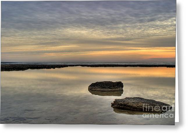 Ocean Shore Greeting Cards - Golden Horizon Greeting Card by Stylianos Kleanthous