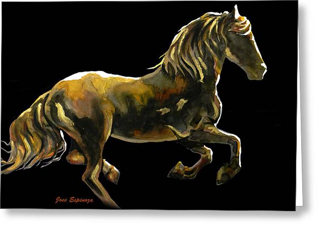 Amazing Drawings Greeting Cards -  GOLDEN RUNNER  in black Greeting Card by Jose Espinoza