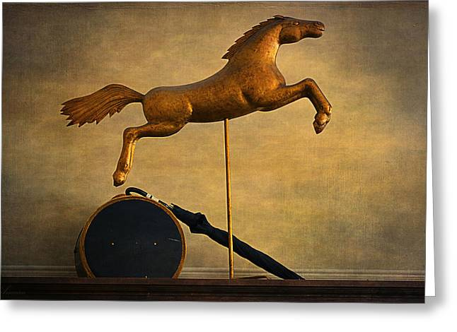 Hat Box Greeting Cards - Golden Horse Greeting Card by Maria Angelica Maira