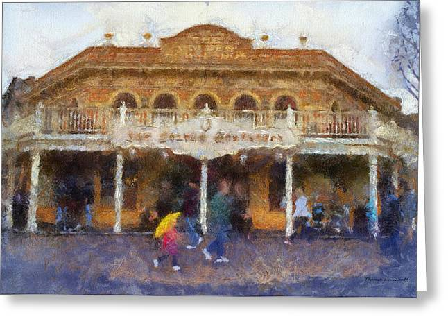 Beauty Mark Greeting Cards - Golden Horseshoe Frontierland Disneyland Photo Art 02 Greeting Card by Thomas Woolworth