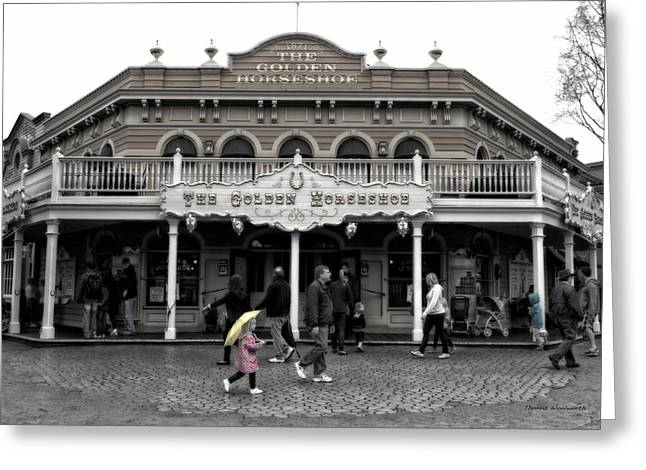 Beauty Mark Greeting Cards - Golden Horseshoe Frontierland Disneyland SC Greeting Card by Thomas Woolworth