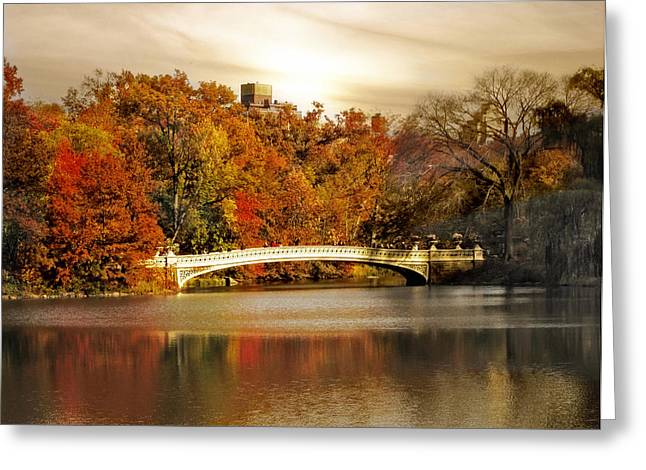 Bow Bridge Greeting Cards - Golden Hour at Bow Bridge Greeting Card by Jessica Jenney