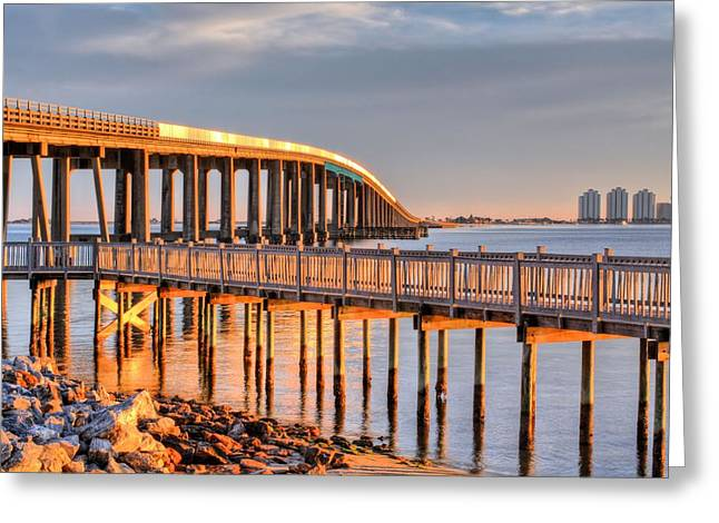 Navarre Beach Greeting Cards - Golden Hour in Navarre Greeting Card by JC Findley
