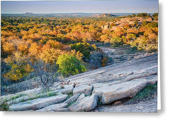 Llano Greeting Cards - Golden Hour Light Enchanted Rock Texas Hill Country Greeting Card by Silvio Ligutti