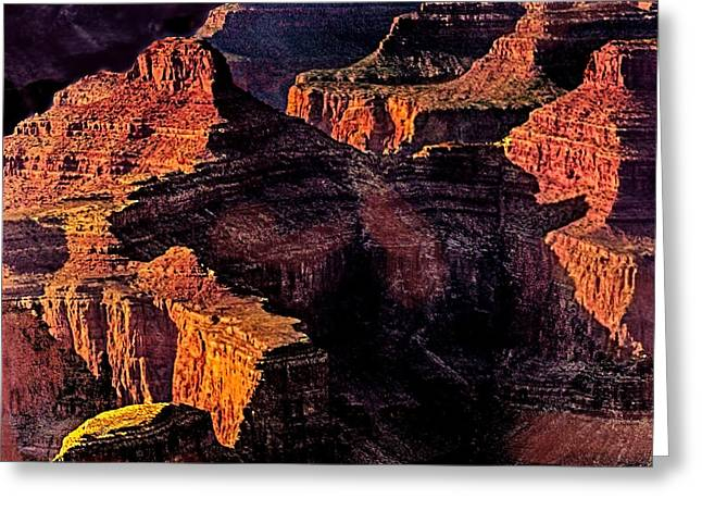 Desertview Greeting Cards - Golden Hour Mather Point Grand Canyon National Park Greeting Card by  Bob and Nadine Johnston