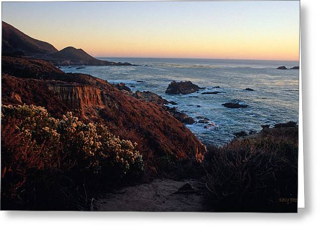 Big Sur Greeting Cards - Golden Hour on Garrapata Greeting Card by Kathy Yates