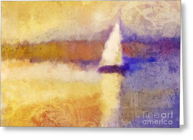 Sunset Abstract Greeting Cards - Golden Hour Sailing Greeting Card by Lutz Baar