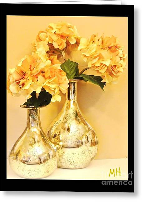Canna Digital Art Greeting Cards - Golden Hydrangia Greeting Card by Marsha Heiken