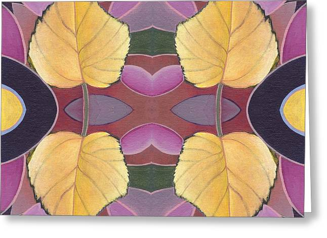 Fallen Leaf Mixed Media Greeting Cards - Golden I I I - The Joy of Design X X I V Arrangement Greeting Card by Helena Tiainen