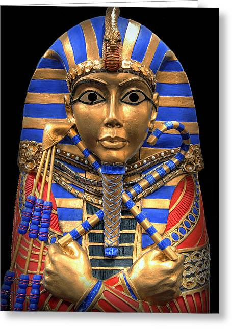 Horus Greeting Cards - GOLDEN INNER SARCOPHAGUS of a PHARAOH Greeting Card by Daniel Hagerman