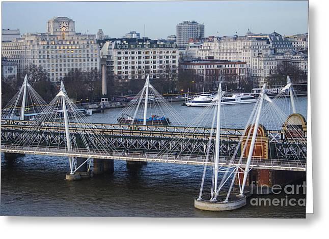 Charing Cross Bridge Greeting Cards - Golden Jubilee Bridge London Greeting Card by Deborah Smolinske