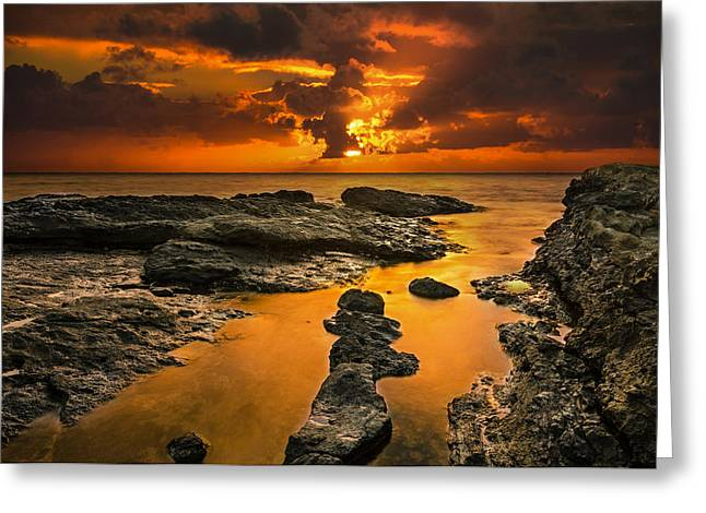 Koolina Greeting Cards - Golden Kailua beach sunrise in Oahu Greeting Card by Tin Lung Chao