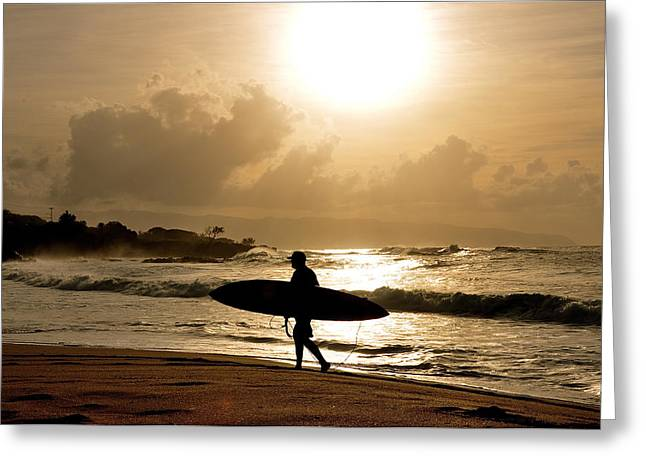 Surf Silhouette Greeting Cards - Golden Greeting Card by Keith Harkin