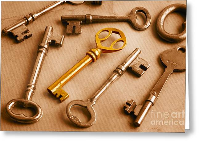 Treasure Trove Greeting Cards - Golden Key and Grunge Greeting Card by Colin and Linda McKie