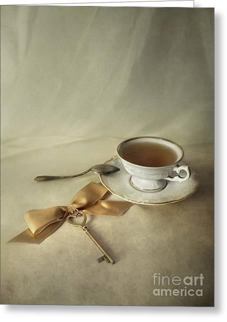 Gold Cloth Greeting Cards - Golden key Greeting Card by Jaroslaw Blaminsky