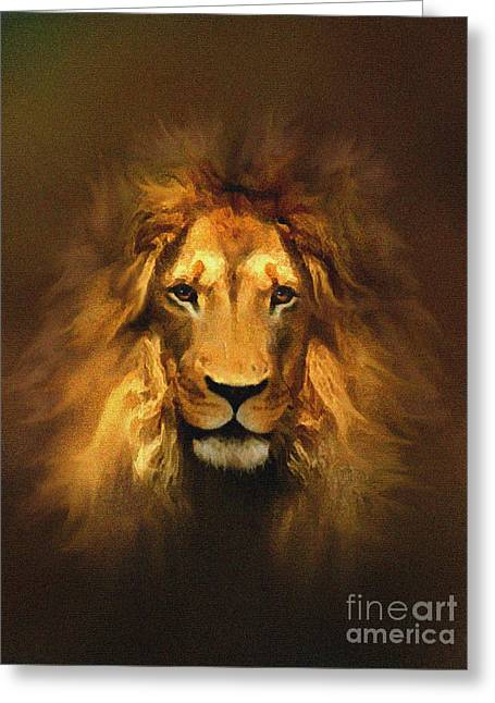 The Lion Witch Wardrobe Greeting Cards - Golden King Lion Greeting Card by Robert Foster