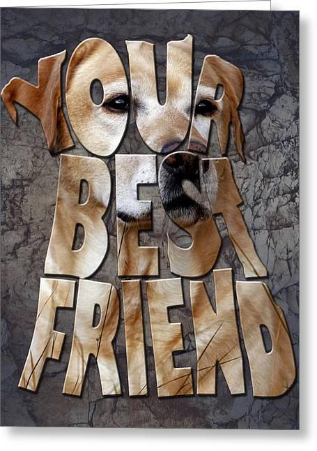 Labrador Retriever Digital Art Greeting Cards - Golden Labrador Retriever Typography art Greeting Card by Georgeta Blanaru