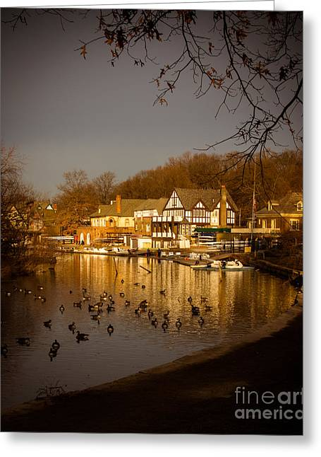 Scenic Drive Greeting Cards - Golden Light at Boathouse Row Greeting Card by Tom Gari Gallery-Three-Photography