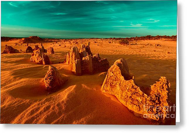Petrified Greeting Cards - Golden Light Falls Greeting Card by Julian Cook